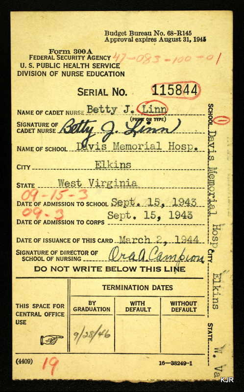 Betty Jane Linn Hull's Cadet Nurse membership card